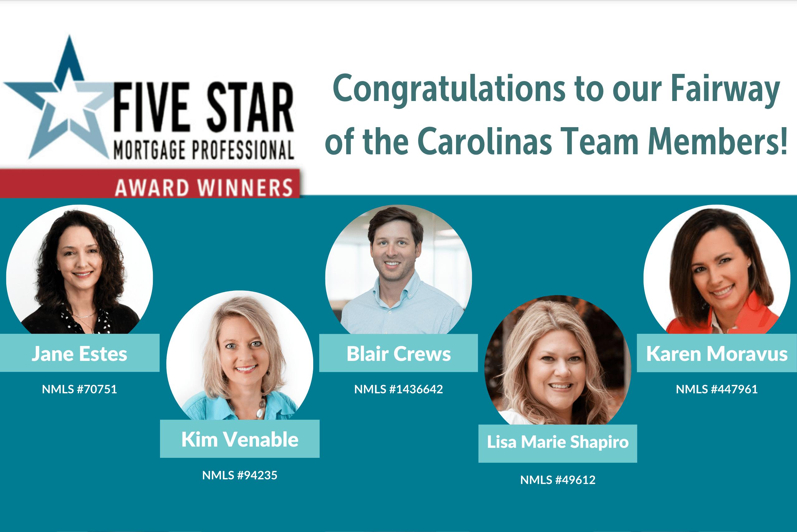 Congratulations, Five Star Award Winners from Fairway of the Carolinas